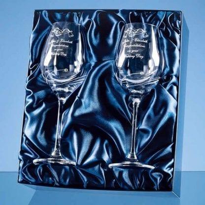 two diamante wine glasses