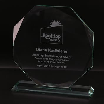 Bevelled Octagon Glass Award