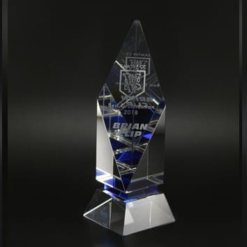 Blue Diamond Glass Trophy