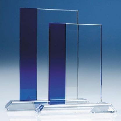 blue stripe rectangle glass award