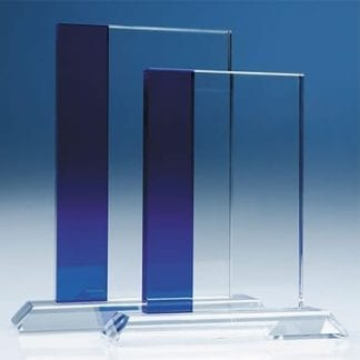 Blue Stripe Rectangle Optic Glass Award
