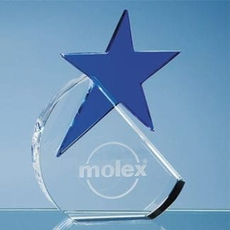 Crystal Glass Circle Award with Blue Star