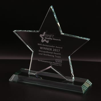 Cut Star Jade Glass Award