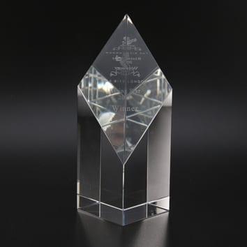 Diamond Wedge Glass Trophy