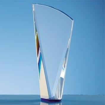 Facet Shard Crystal Glass Trophy with Blue Base