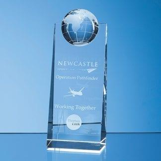 globe wedge glass award