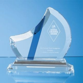 Half Moon Glass Award with Blue Stripe
