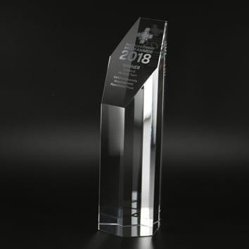 Hexagonal Column Glass Trophy