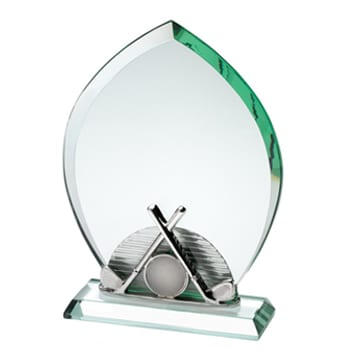 Glass Golf Trophy with Metal Crossed Golf Clubs and Golf Ball