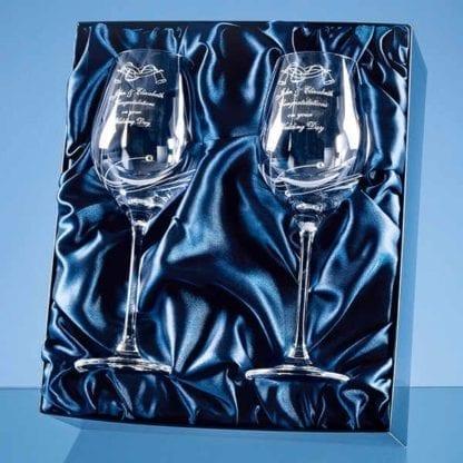 2 Diamante Wine Glasses in Presentation Box