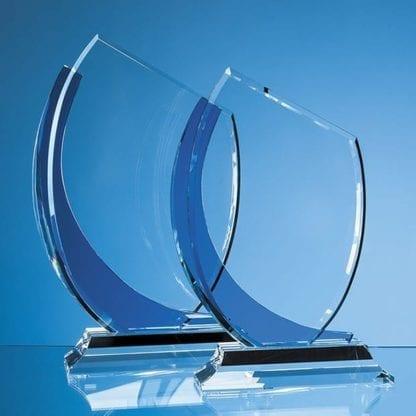 Optic Slice Glass Award with Blue Curve