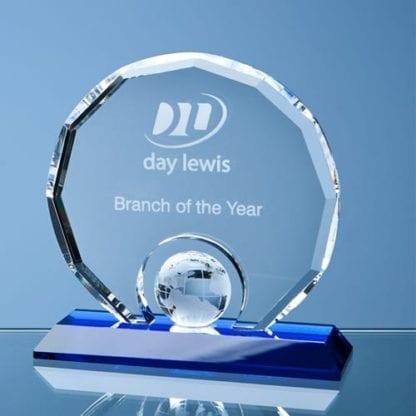 Round Glass Award with Globe