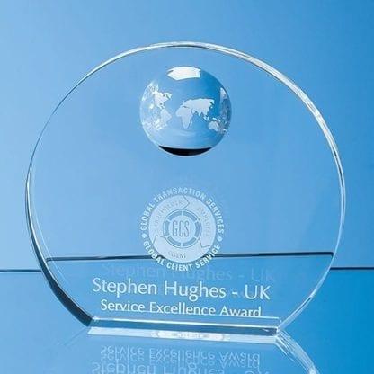Round Wedge Globe Glass Award