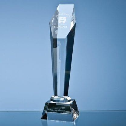 Tall Hexagon Column Crystal Glass Trophy CG3013