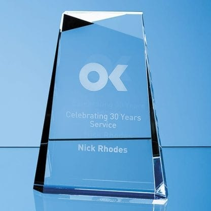 Tapered Rectangle Glass Trophy with Blue Base