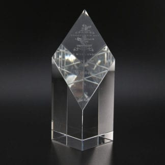 Diamond wedge glass trophy