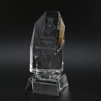 Emerald glass trophy