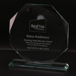 Bevelled Octagon Glass Award
