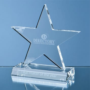 Optic Crystal Cut Out Star Glass Award