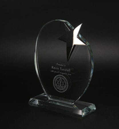 Oval Star Glass Award