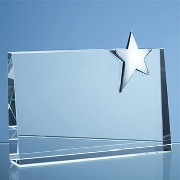 Rectangle Wedge Glass Star Award