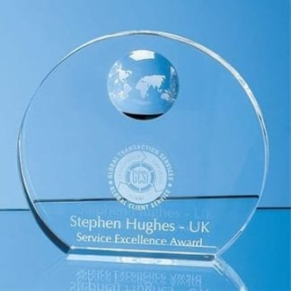 Round Wedge Globe Glass Award