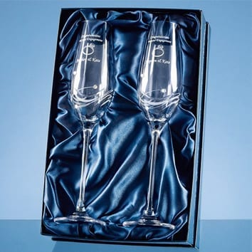 Set of 2 Diamante Champagne Flutes in Presentation Box