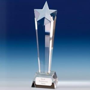 Star Tall Column Glass Trophy