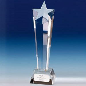Star Tall Column Glass Trophy