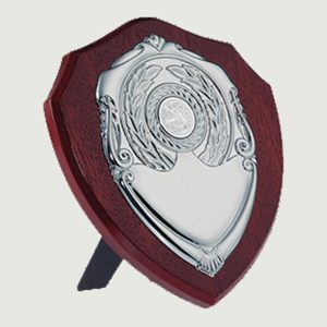 traditional dark wood shield