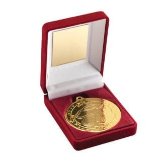 gold golf medal in box