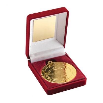gold golf medal in box