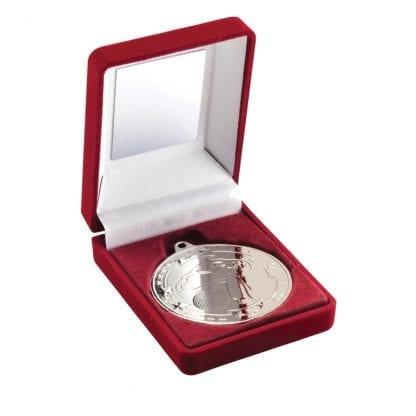 silver golf medal in box