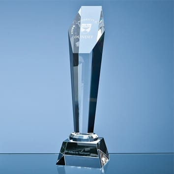 Tall Hexagon Column Crystal Glass Trophy