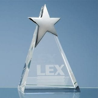 Triangle Glass Award with Silver Star