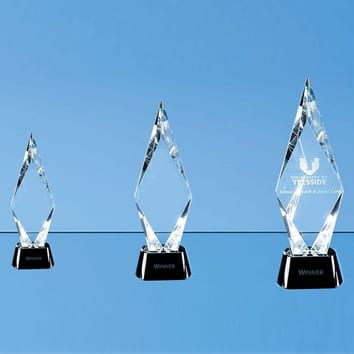Mounted Peak Crystal Glass Award with Black Base